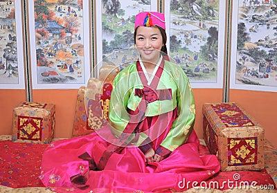 Woman asian girl hanbok dress