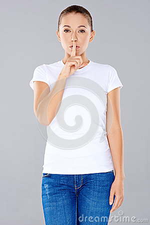 Free Woman Asking For Silence Or Secrecy Stock Photography - 33780062
