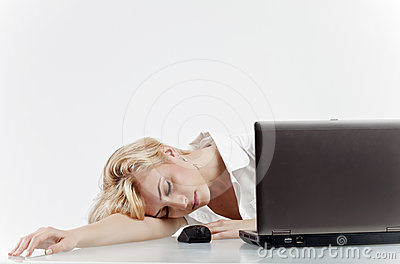 Office woman employee asleep at work