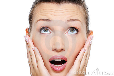 Woman with an astonishment emotion on her face