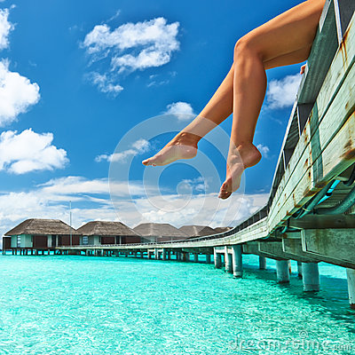 Free Woman At Beach Jetty Royalty Free Stock Photos - 31872788