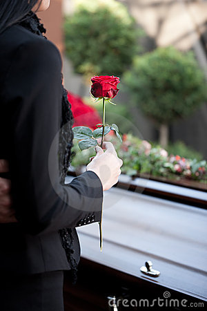 Free Woman At Funeral With Coffin Stock Photography - 21714502