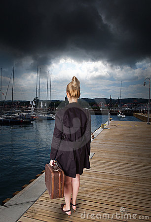 Free Woman At Harbor - Before Storm Stock Photo - 20849060