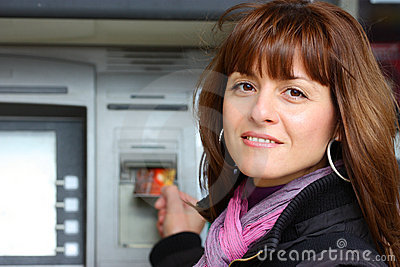 Woman at the ATM outdoor