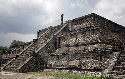Woman Atop Mexican Pyramid