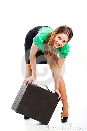 Woman and attache case