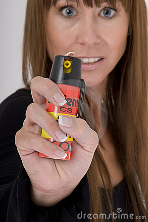 Free Woman Attacks With Pepper Spray Royalty Free Stock Photography - 9158877