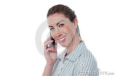 Woman attending business call