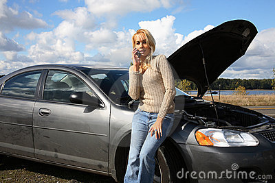 Woman with auto trouble