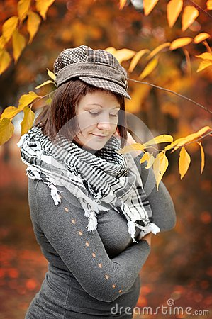 The woman in the autumn
