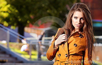 Woman in autumn city
