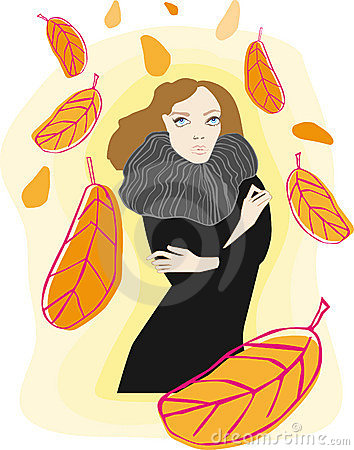Woman and autumn leaves