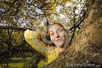 Woman at autumn park