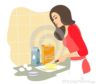 Beautiful girl will cook pastries.Cuts butter. Baking. Vector isolate on a white background. Vector Illustration