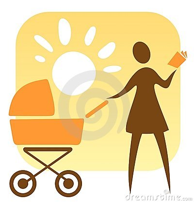 Woman And Baby Carriage Royalty Free Stock Image - Image: 5743526