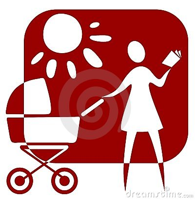 Woman and baby carriage