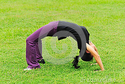Woman back-bend