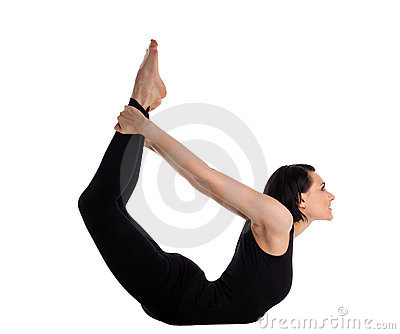 Woman back bends yoga - bow pose isolated