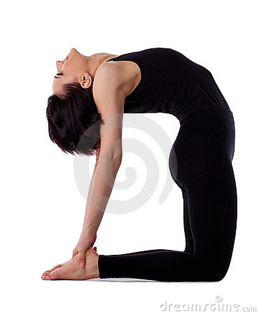 Woman back bends yoga - camel pose