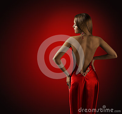 Free Woman Back In Red Dress, Beautiful Fashion Model Rear View Stock Photos - 77480473