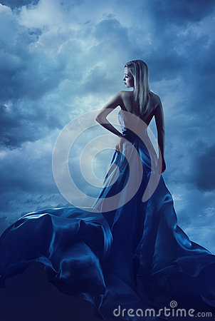 Free Woman Back Portrait In Evening Dress, Lady In Silk Gown Cloth Royalty Free Stock Image - 51156686