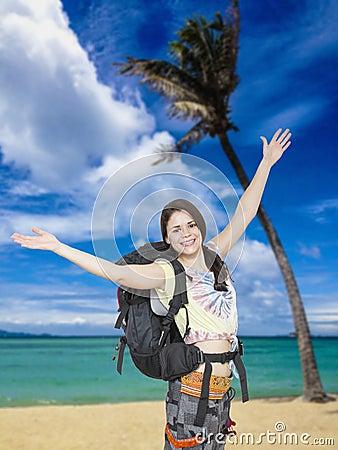 Free Woman Backpacker, Beach At Tropical Beach Stock Photos - 39079513
