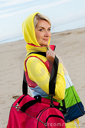 Woman with a bag outdoors