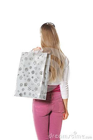 Woman with bag rear view