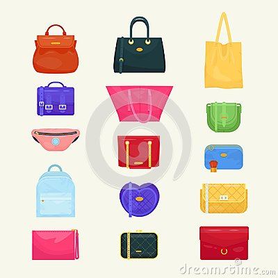 Free Woman Bag Vector Girls Handbag Or Purse And Shopping-bag Or Baggy Package From Fashion Store Illustration Set Of Stock Images - 112763054