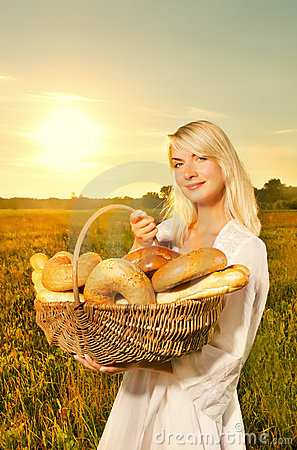 Woman with a baked bread