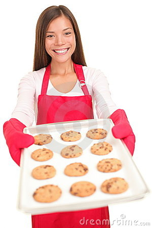 Woman baking cookies isolated