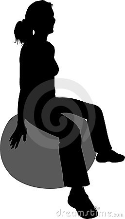 Woman on ball silhouette