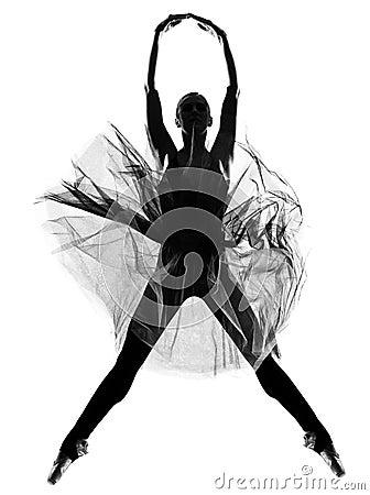 Woman ballet dancer leap dancing