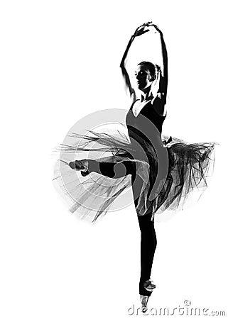 Woman ballet dancer leap dancing silhouette