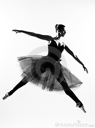 Woman ballet dancer leap dancing silhouette