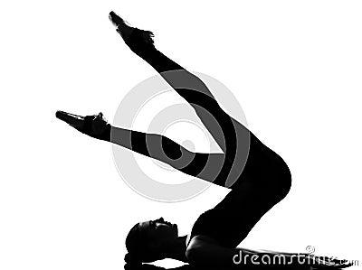 Woman ballet dancer  Shoulder Stand yoga pose