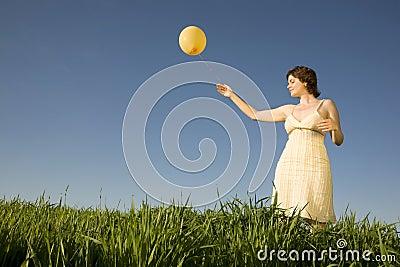 Woman with ballon