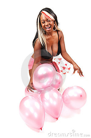 Woman with balloons.
