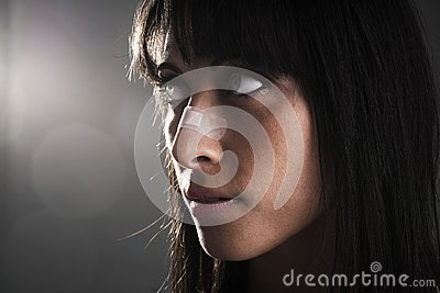 Woman with bandage on nose