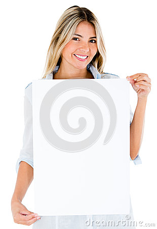 Woman with a banner