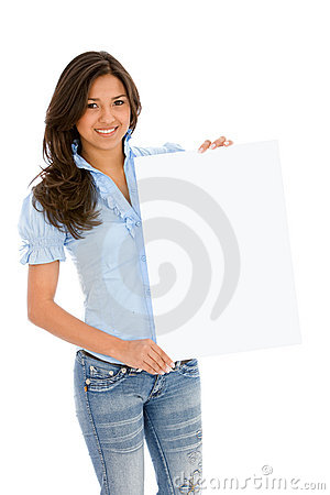Woman with banner ad