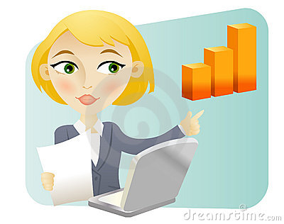 Woman with a bar graph