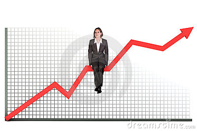Woman on bar graph