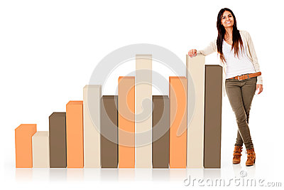 Woman with a bar graphic