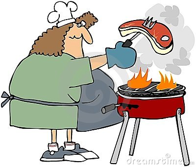 Woman Barbecueing A Steak