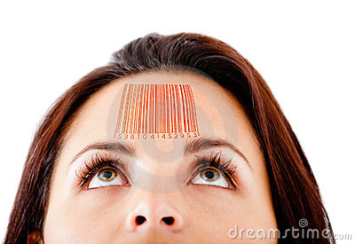 Woman with a barcode