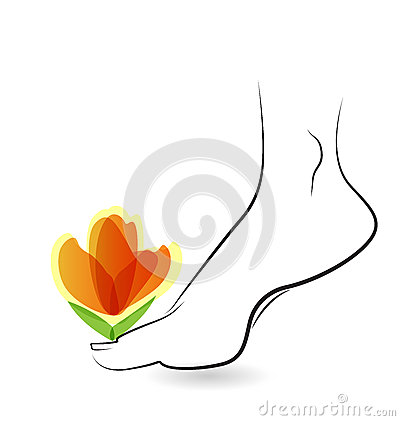 Free Woman Barefoot With Flower Logo Stock Image - 52474181