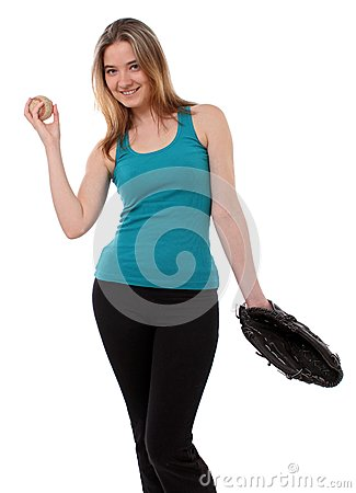 Woman with a baseball glove