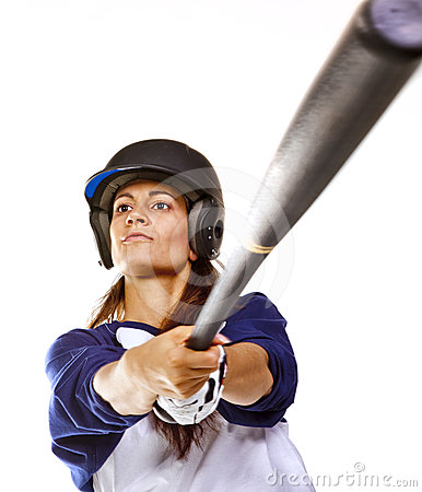 Free Woman Baseball Or Softball Player Batting Royalty Free Stock Images - 24319909