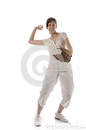 Woman with Baseballhandschuth